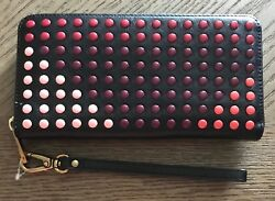 NWT FOSSIL Women's Emma RFID Large Leather Zip Clutch Wallet Bright Multi Dots
