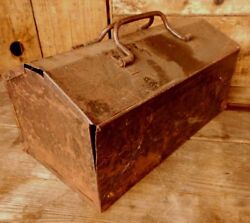 Vintage Industrial Metal Tool Box Fold Over Lid Green Scratched Tray Country