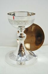 Antique All Sterling Silver 7 1/2 Chalice With Paten - 495 - Church