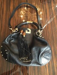 GUCCI BLACK LEATHER PURSE BAG  TASSELS & BAMBOO  CROSS BODY STRAP  HANDLE