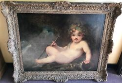 Sir Joshua Reynolds Cherup Depiction Oil Painting with Antique Wall Frame