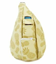KAVU Rope Bag Sling Crossbody Backpack Travel Cotton Purse - Pineapple Sun