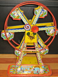 Rare 1950s J Chein And Co Mickey Mouse Disney Ferris Wheel Wind Up Tin Lithograph
