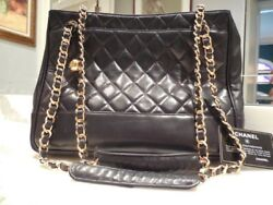Authentic CHANEL Double Strap Black Leather Hand BagPurseTote