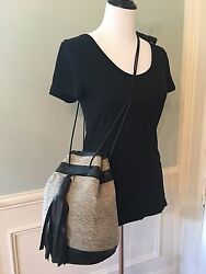 Wendy Nichol x Vanderhurd Leather & Silk Dhurrie Bucket Bullet Bag Lmtd Edition
