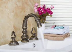 Bathroom Basin Tub Faucets Mixer Antique Brass Taps Deck Mounted