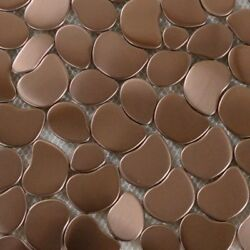 Copper Rose Gold Color Stainless Steel River Rock Pebble Mosaic Floor Wall Tile