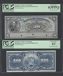 Venezuela 500 Bolivares 1916-1921 Ps298s Face And Back Proof Uncirculated
