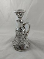 Alvin 999 Pure Silver Overlay Glass Whiskey Decanter, Wheat Design