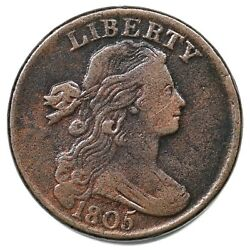 1805 S-267 Draped Bust Large Cent Coin 1c