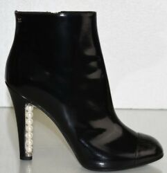 1840 New Black Leather Boots Cap Toe Platform Pearls Heel Cc Shoes 40.5