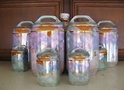 Rare 11pcold White Block Luster-ware Canister Set Czechoslovakia Inc. Spices