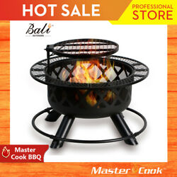 BALI OUTDOORS 32in Wood Burning Patio Round Fire Pit Backyard Grill Set NEW