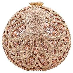 Octopus Evening Bags Clutch Purses For Women Rhinestone Crystal Bag-Champagne