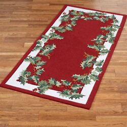 Holly Border Rectangle Rug Red 2'9