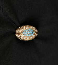 Antique Victorian Persian Turquoise And Pearls Dome Design 14kt Gold Ring Jewelry