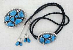 Sterling Silver And Natural Kingman Turquoise Bolo Tie And Matching Belt Buckle