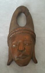 Antique Hand Carved Asian Tribal Wooden Solid Wood Mask Rare