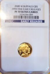 2008-W $5 Gold Buffalo Proof Eagle NGC PF70 UCAM 1/10 OZ. EARLY RELEASE