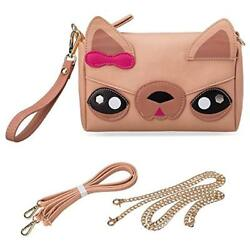 Cute Animal Shoulder Bags Dog Puppy Face Purse For Girls Teens Women - 3 Straps