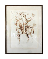 Vintage Mid Century Art - Original Signed Painting Abstract Horse And Rider