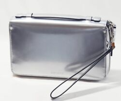 Dior Homme 2DEBC 032XJD H02K Clutch Bag Wallet Metallic Silver Never Used