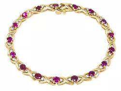 14k Yellow Gold Round Ruby and Diamond Bracelet 7