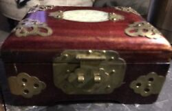 Vintage 1930's Chinese Brass And Wood Jewelry Box Jade Insert Lockable