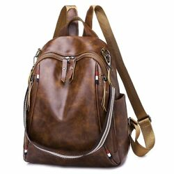Women Backpack High Quality Brown Leather Backpacks Girls School Shoulder Bags $14.91
