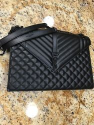 Authentic YSL  Quilted Shoulder  Bag Large