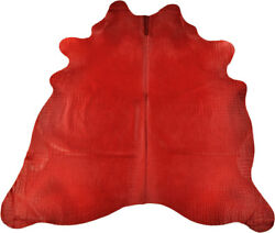 Exclusive Cowhide Bullhide Red With Croco Embossing 88 5/8x86 5/8in