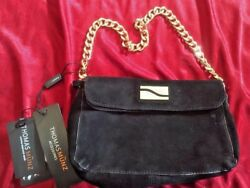 Thomas Munz Black Suede Leather Evening Bag Clutch W Gold Chain Strap NWT