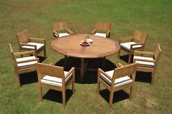 Dsvr A-grade Teak 9pc Dining Set 72 Round Table 8 Arm Chair Outdoor Patio