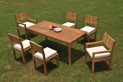 Dsvr A-grade Teak 7pc Dining Set 71 Rectangle Table Chair Outdoor Patio