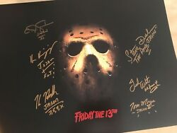 Friday The 13th 16x20 Mask Picture With Hodder Dash White 6 Total Jason Jsa