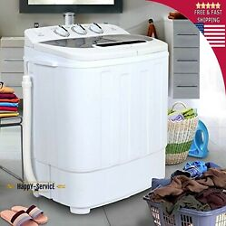 Top White Load Mini Washing Machine Compact Twin Tub 13lb Washer Spin And Dryer Po