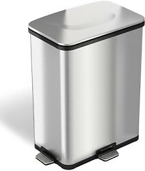 ITouchless 13-gallon Stainless Steel Step-Sensor Trash Can With Flexible Three