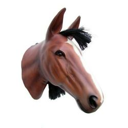Horse Head Brown Resin Statue Prop Decor Equestrian Stallion Display Wall Mount