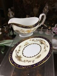 Minton Dynasty Cobalt Blue And Gold Gravy Boat With Underplate England
