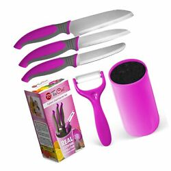 TruChef KIDS Knife Set For Cooking (5 Piece) in Pink – Includes REAL Kids Che...