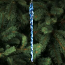 6 Blue Glass Icicles - 12 Quantity - Christmas Holiday Ornaments