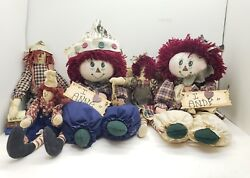 Lot Of 5 Small And Large Raggedy Anne And Andy Dolls Country Rag Doll Decor Cloth