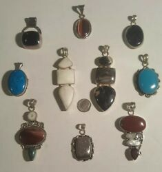 Old Pawn Vintage Sterling Silver Jewlery Pendants Lot Of 10 Not Scrap