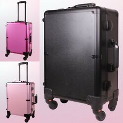 Aluminum Lighted Make Up Case Rolling Cosmetic Luggage Professional Beauty Caddy