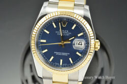New Style Mens Rolex Datejust Blue Dial 18K Yellow Gold & Steel Watch 116233