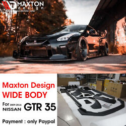 For 09-16 Nissan GTR R35 Maxton Design Style FRP + Carbon Full Wide Body Bodykit