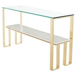 60 L Console Table Tempered Glass Top Wood Veined Marble Stainless Steel Frame