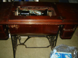 1900 Singer Antique Treadle Sewing Machine And Fancy 7 Drawer Oak Cabinet
