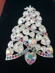 Iridescent Crystal 2007 Rockefeller Center Retired Xmas Tree Brooch