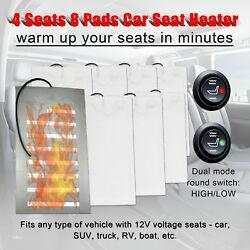 4 Seats Carbon Fiber Universal Heated Seat Heater Kit Car Cushion 12V 8 Pads